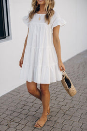Saunders Dress - White-Dresses-Kaarlo Fashion Pty Ltd-ESTHER & CO.