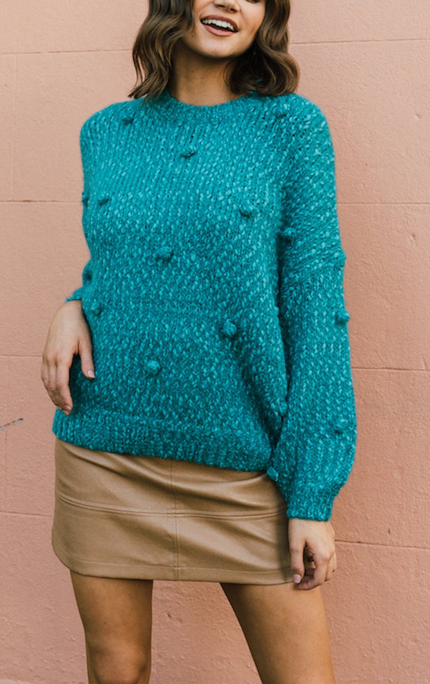Shearing Knit - Teal-Tops-Womens Clothing-ESTHER & CO.