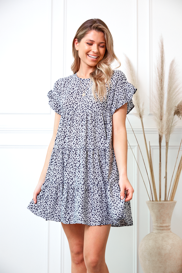 Skittle Dress - Navy Print