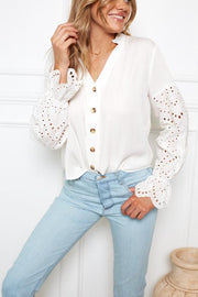 Skyla Top - Cream-Tops-Womens Clothing-ESTHER & CO.