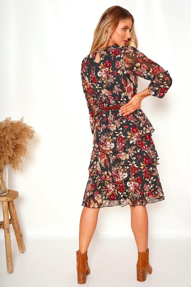 Solace Dress - Black Print-Dresses-Womens Clothing-ESTHER & CO.