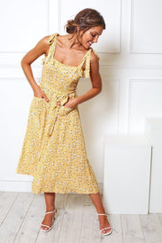 Sunflow Dress - Yellow Print-Dresses-Womens Clothing-ESTHER & CO.