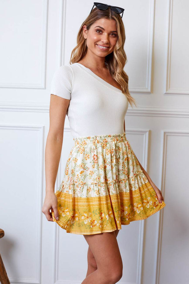 Sunni Skirt - Yellow-Skirts-Womens Clothing-ESTHER & CO.