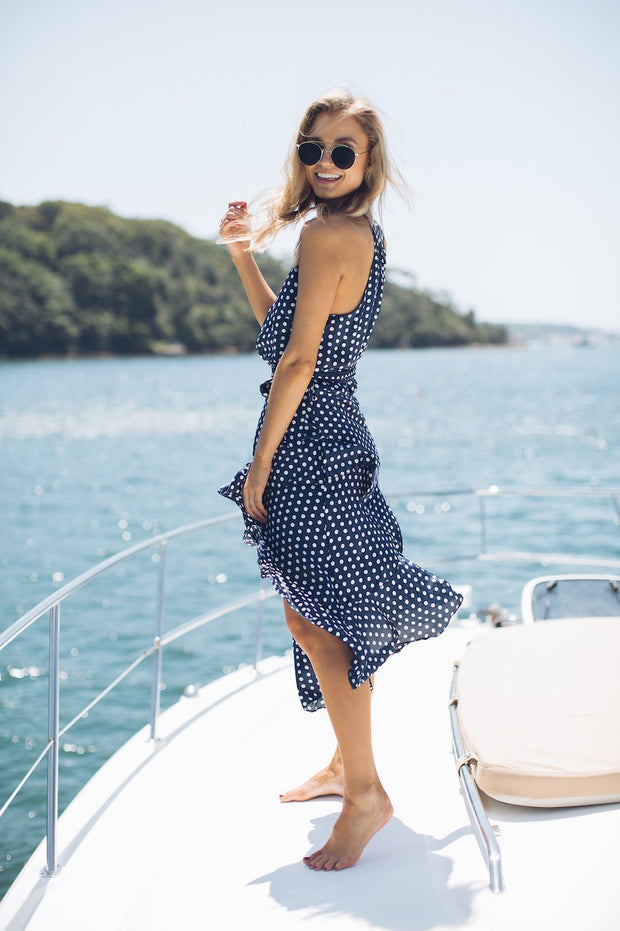Symone Dress - Navy Spot-DRESSES-into fashion-ESTHER & CO.