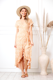 Tangerine Dress - Orange Print-Dresses-Womens Clothing-ESTHER & CO.