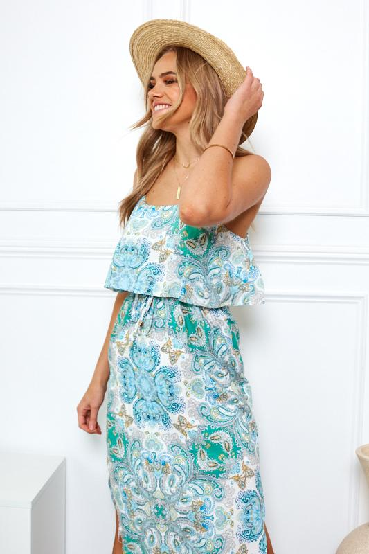 Tropical Dress - Green Print