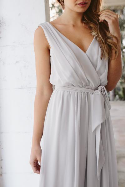 Tulip Maxi Dress - Silver-Dresses-Esther Luxe-ESTHER & CO.