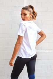 Uniform Tee 2.0 - White with Khaki-Tops-Womens Clothing-ESTHER & CO.