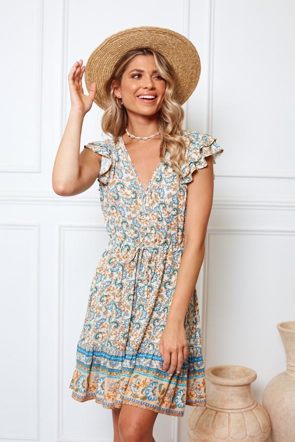 Vacanza Dress - Beige Print
