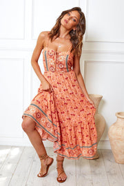 Valley Dress - Peach Print-Dresses-Womens Clothing-ESTHER & CO.