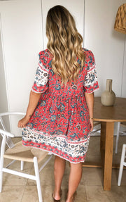 Veera Dress - Red Print-Dresses-Womens Clothing-ESTHER & CO.
