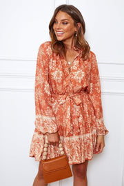 Veralia Dress - Rust Print-Dresses-Womens Clothing-ESTHER & CO.