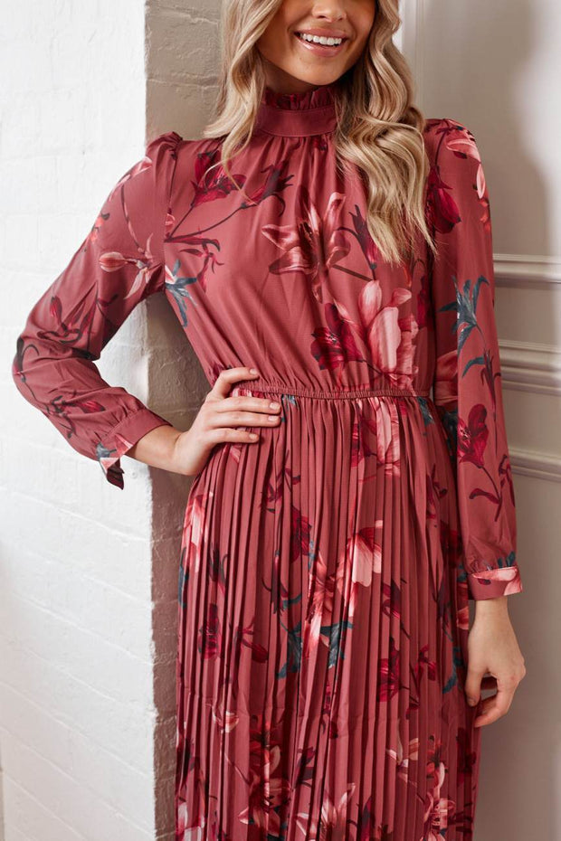 Vignette Dress - Burgundy Print