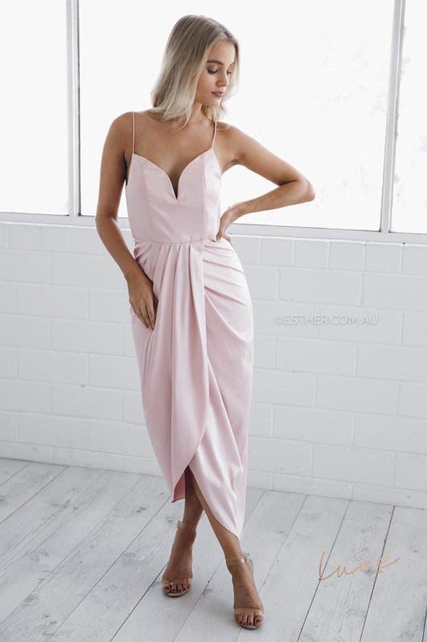 violet midi dress - blush-Dresses-Esther Luxe-ESTHER & CO.