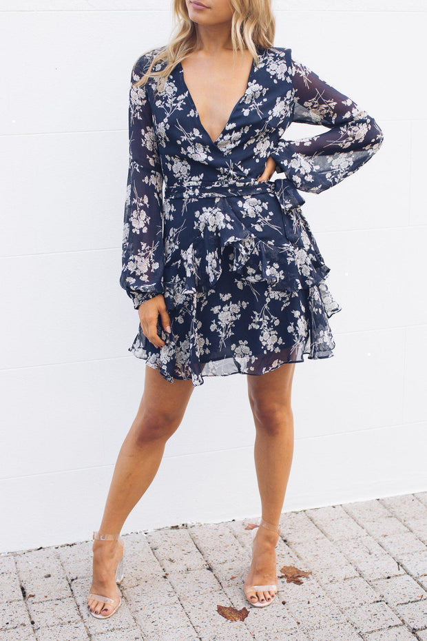 Preorder Voula Dress - Navy Print-Dresses-Sasha Clothing-ESTHER & CO.