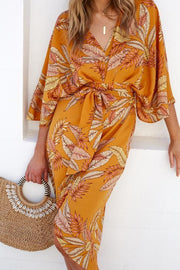 Waikiki Dress - Orange Print-Dresses-Womens Clothing-ESTHER & CO.