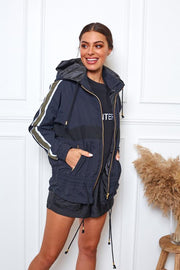 Weekend Run Jacket - Navy and Khaki-Jackets-Womens Clothing-ESTHER & CO.