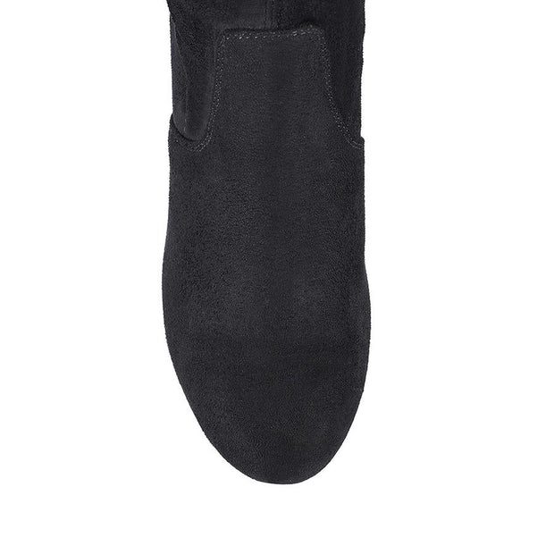 Zeebra Boots - Black MicroSuede-Boots-Womens Accessory-ESTHER & CO.