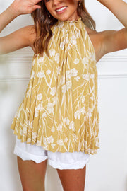 Zimmi Top - Mustard Print-Tops-Womens Clothing-ESTHER & CO.