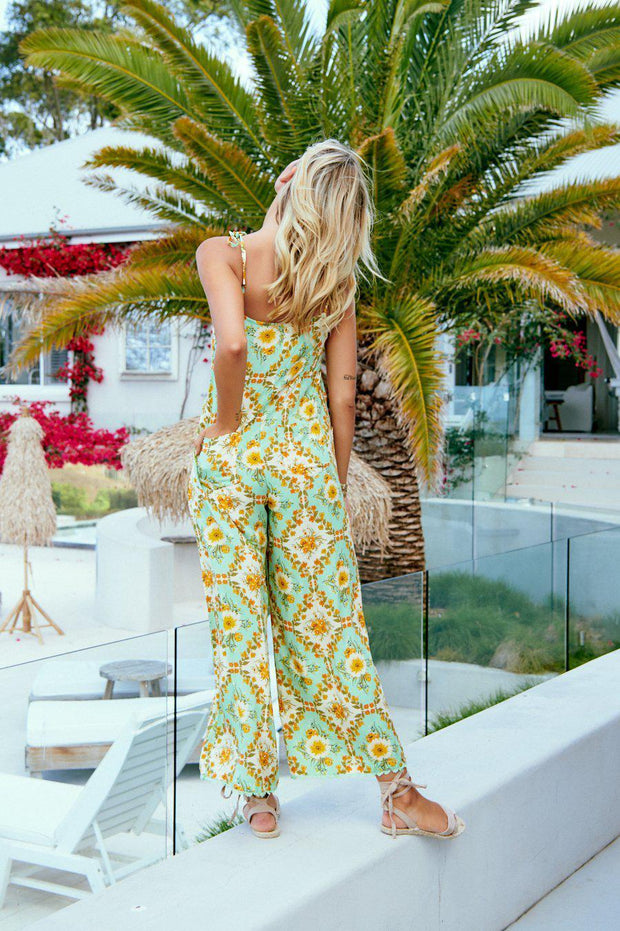 Zinia Jumpsuit - Green Print-Jumpsuits-Womens Clothing-ESTHER & CO.