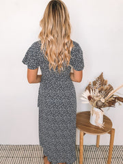 Zoe Dress - Navy Print-Dresses-Womens Clothing-ESTHER & CO.