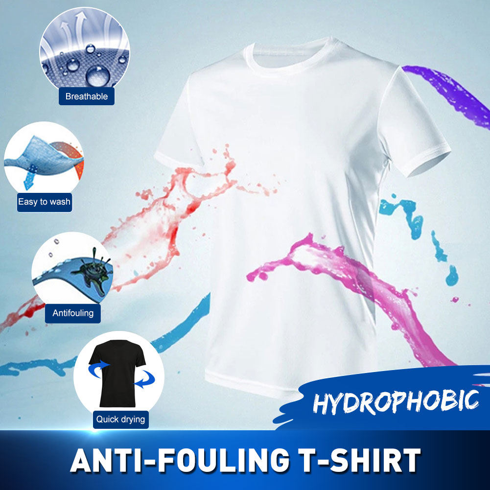 Breathable Anti-Dirty Men T-shirt Creative Hydrophobic Waterproof Anti-pollution Quick Dry T-Shirts Top Short-sleeved T-shirts9