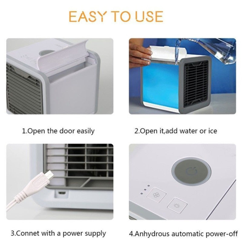 USB Mini Portable Air Conditioner Humidifier Purifier 7 Colors Light Desktop Air Cooling Fan Air Cooler Fan3