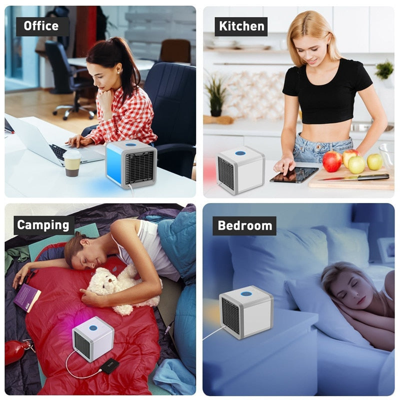 USB Mini Portable Air Conditioner Humidifier Purifier 7 Colors Light Desktop Air Cooling Fan4 Air Cooler Fan