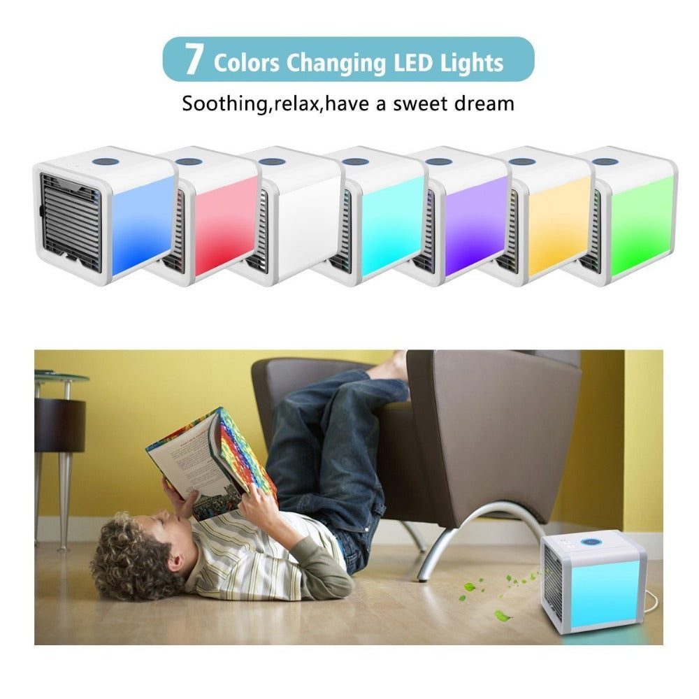 USB Mini Portable Air Conditioner Humidifier Purifier 7 Colors Light Desktop Air Cooling Fan Air Cooler Fan5