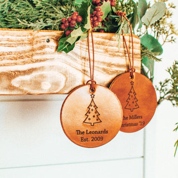 Custom Leather Christmas Ornament - Personalize