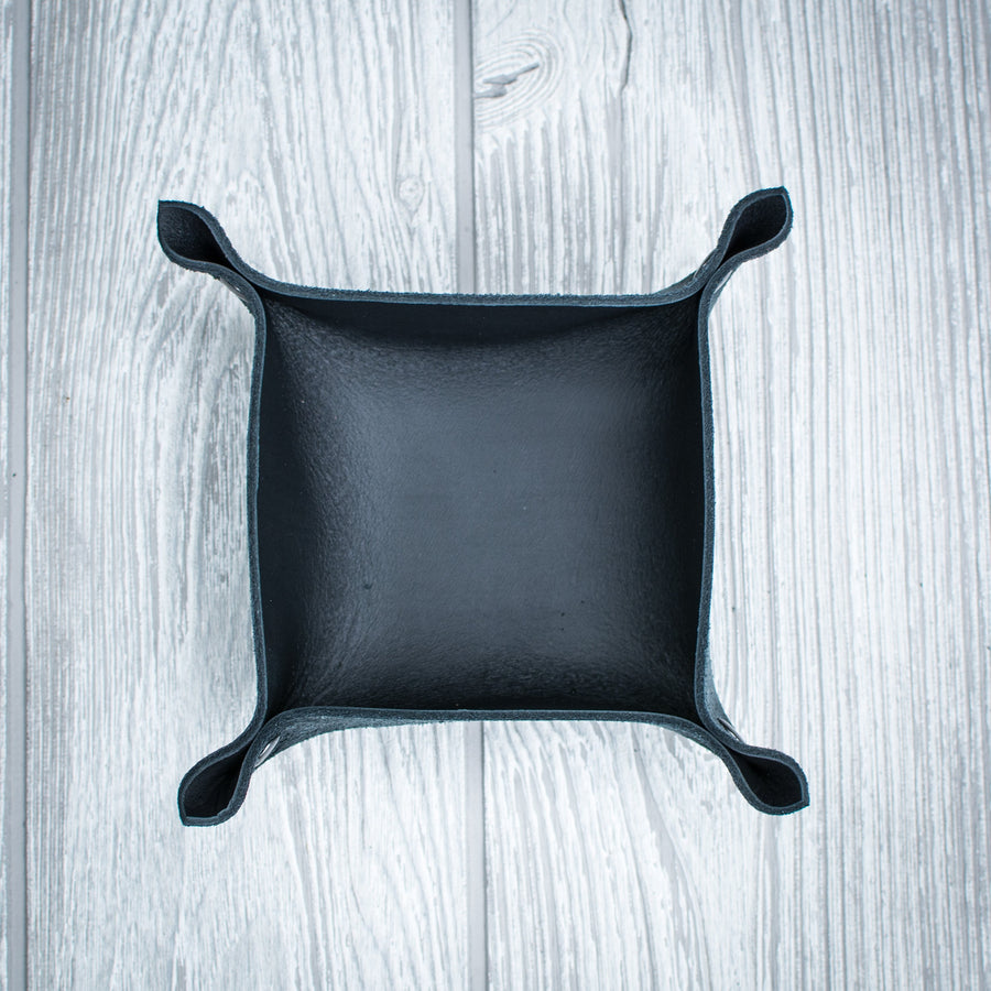 Black Leather Ring Tray