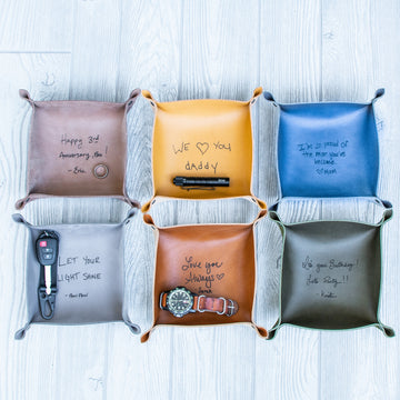 'Your Handwriting' Leather Valet tray - Catchall Tray