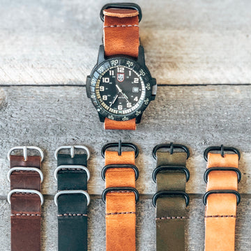 Leather ZULU Watch Band  - Uninversal fit - 22mm