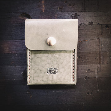 'The Washington' Leather Snap Wallet  - Grey