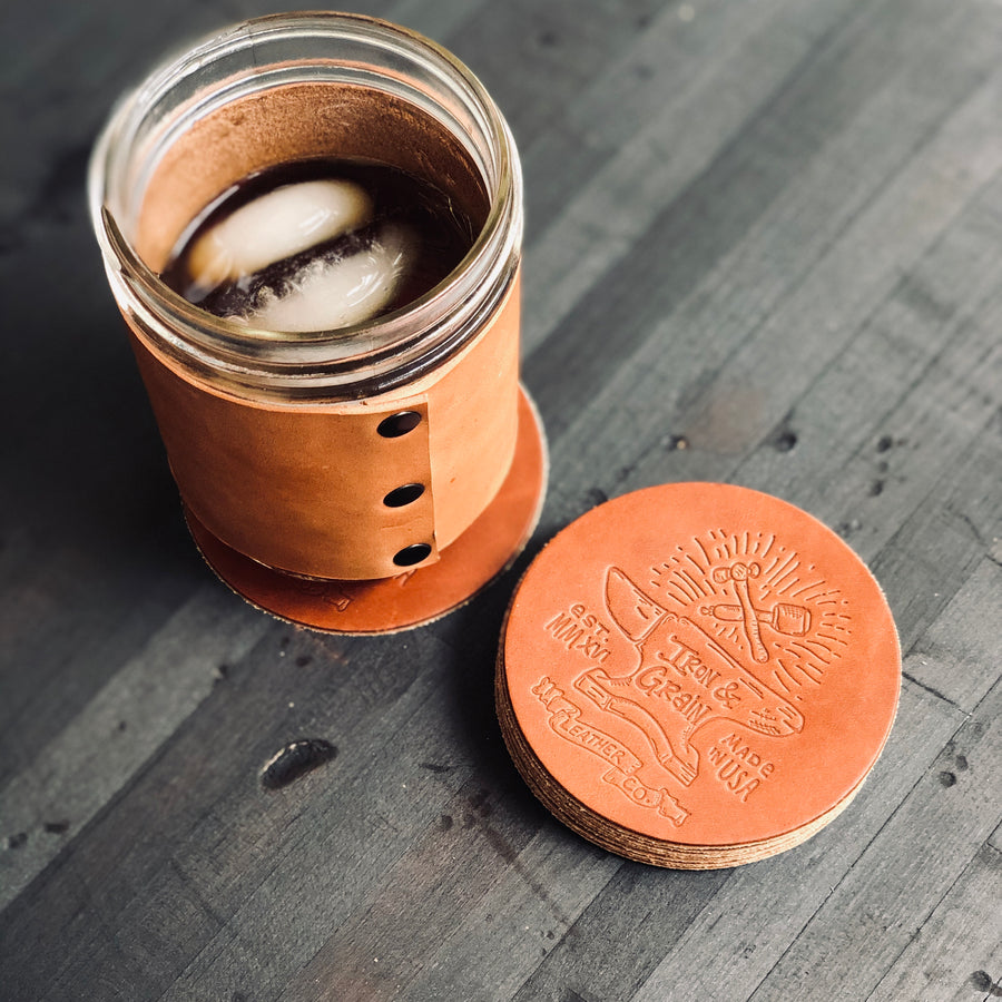 Leather Coaster Set -  4 coasters