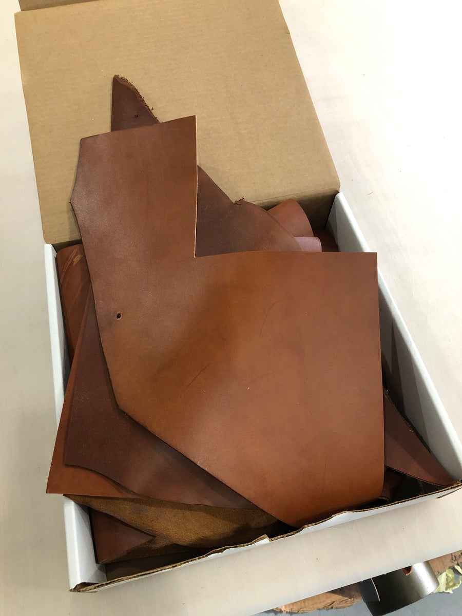 Wickett and Craig Buck Brown Latigo Leather - Scrap box - 2.25 lbs