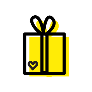 Yellow gift box with heart