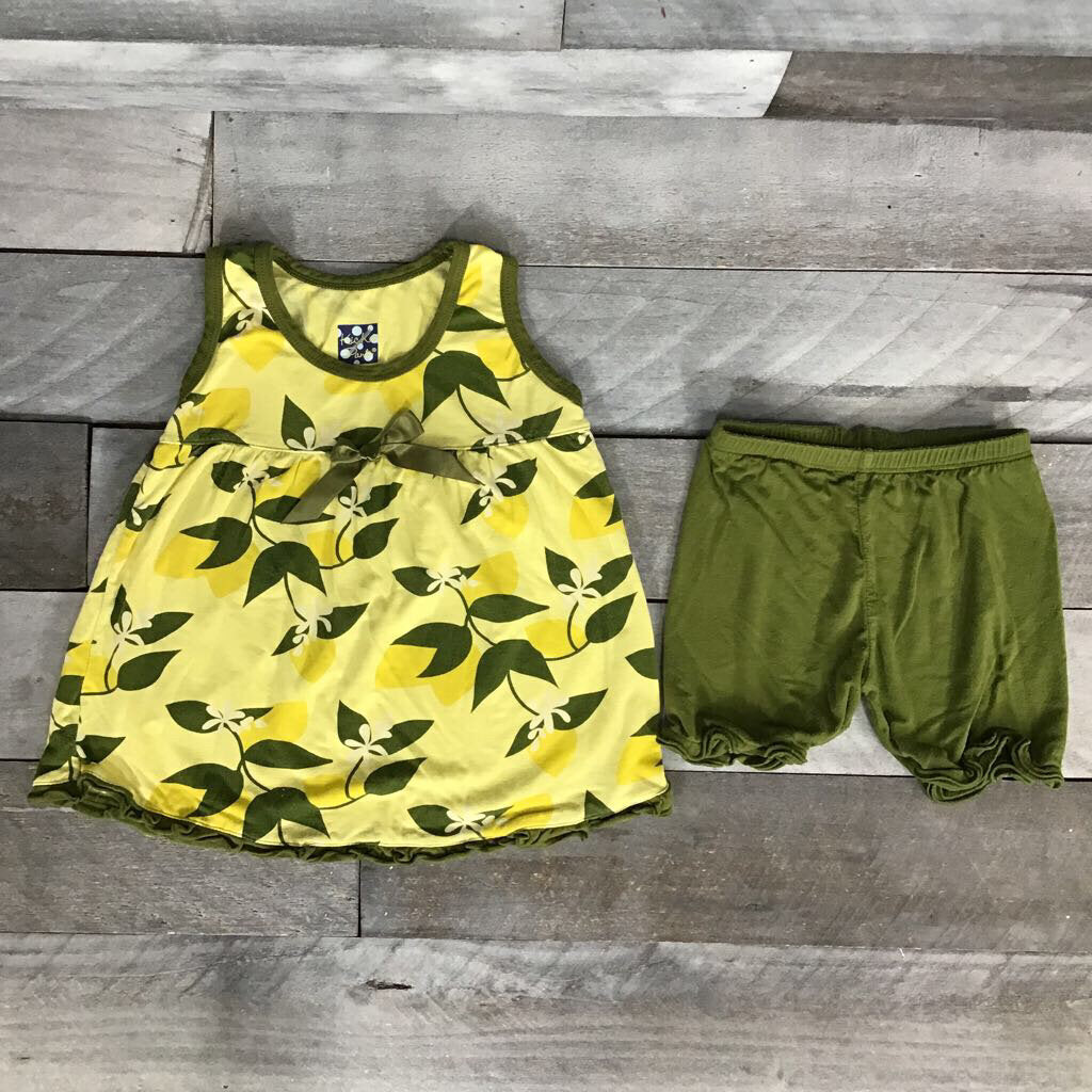 KicKee Pants Lime Blossom Swing Tank with Shorts sz 2T