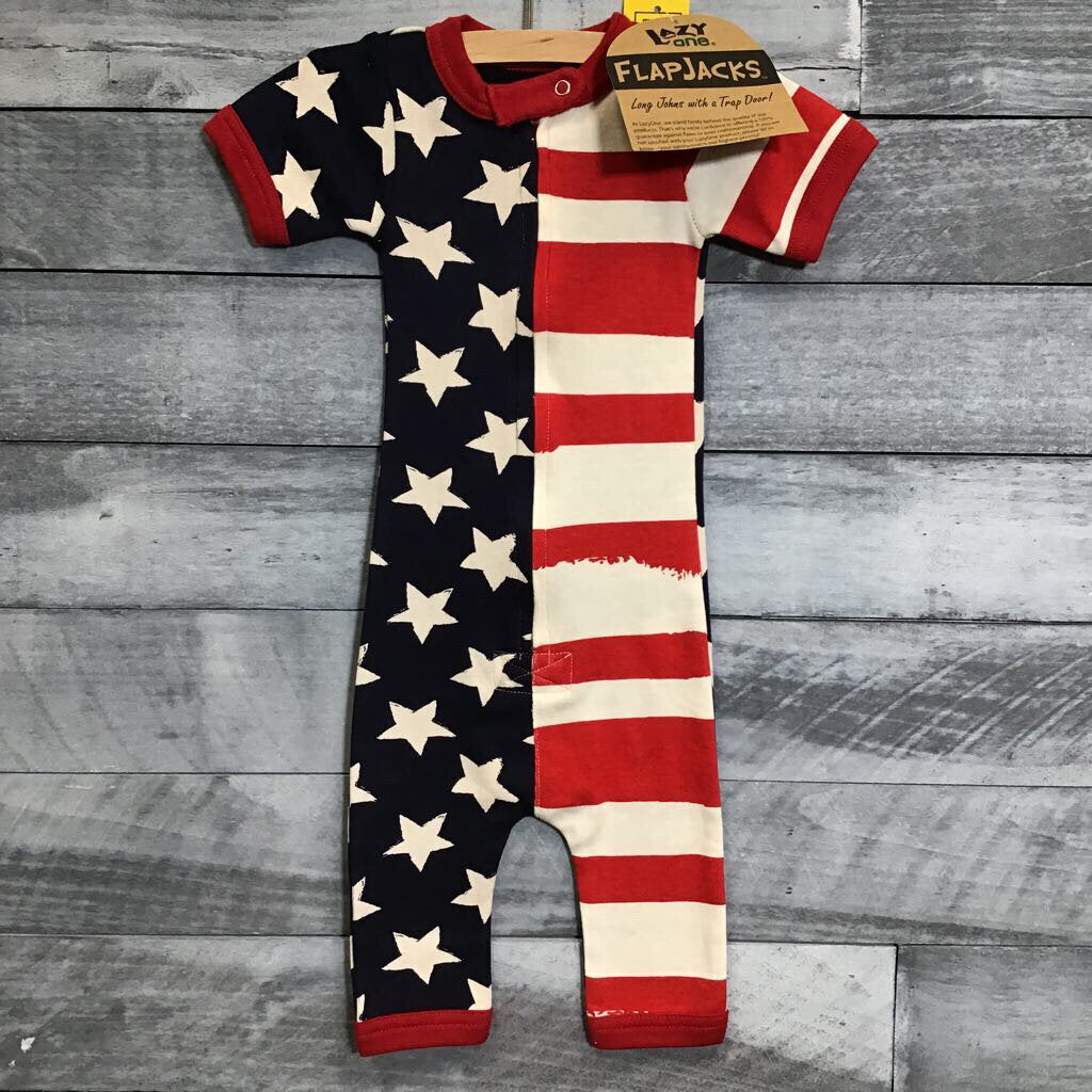NEW Lazy One Stars & Stripes Romper sz 18m