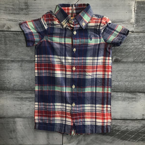 Ralph Lauren Plaid Romper sz 6m