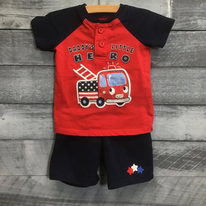 PatrioticButton Up Shortie Polo Romper Dino sz 18M