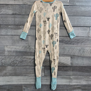 Little Sleepies Cactus Convertible Bamboo Zip Romper/Sleeper sz 3T
