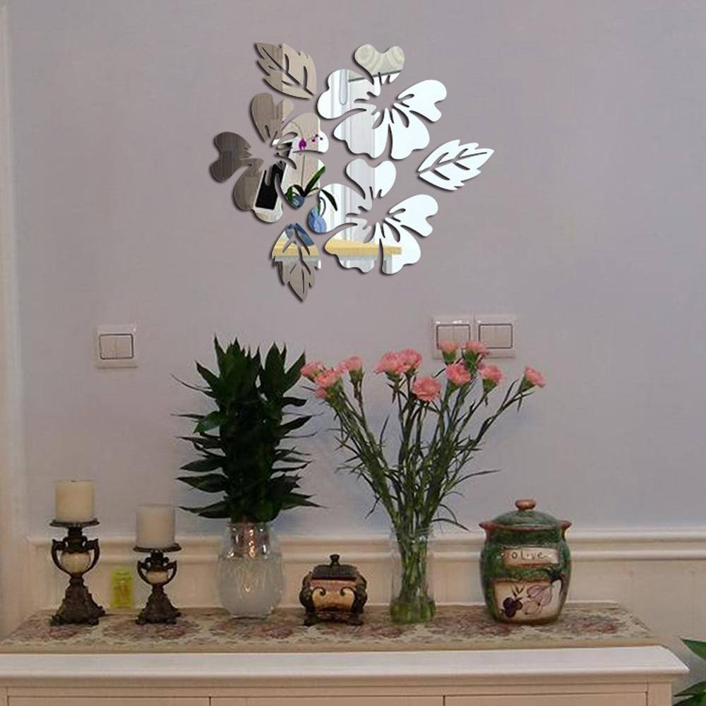 3D Acrylic Hexagonal Flower Pattern Mirrored Wall Sticker | Home Decor | Wall Decal Art DIY Decoration Silver/Gold - Kalsord