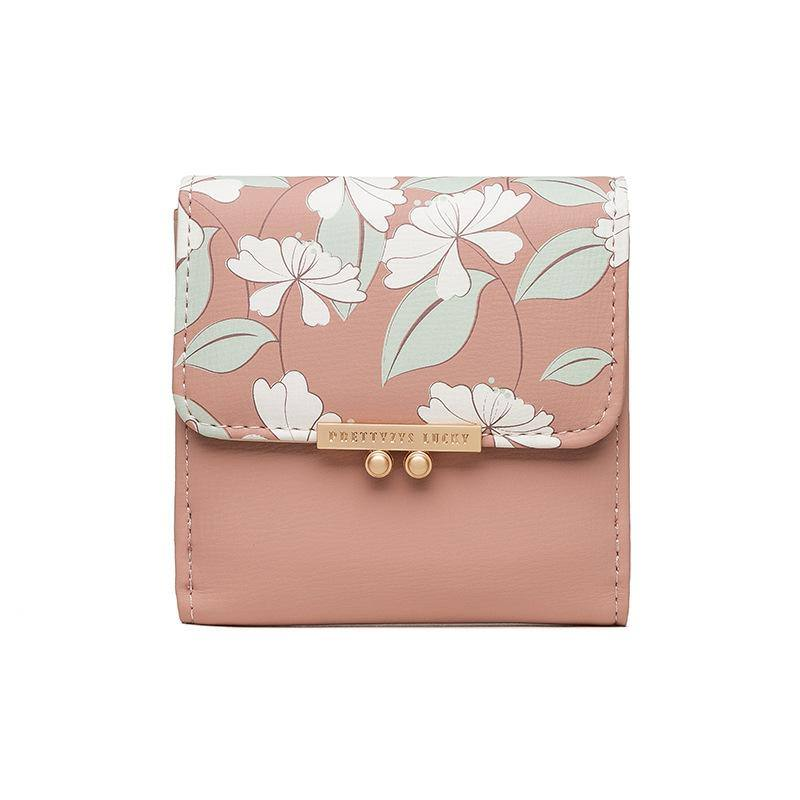 Women's Small Floral Printed Purse | Wallet- Blue, Pink, Black - Kalsord