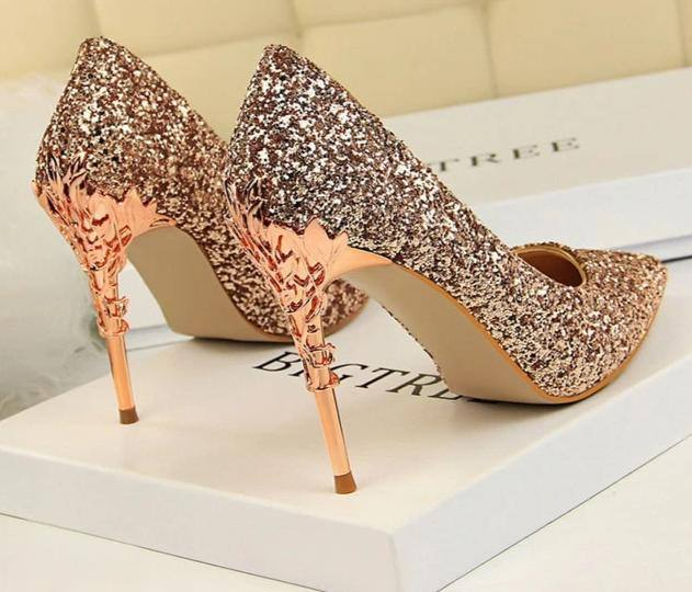 Sequin Glittering | Shiny Thin Pointed Toe Decorated High Heels - Kalsord