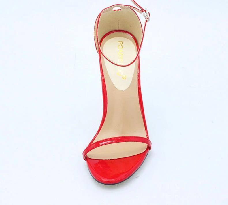 Women's Buckle Strap High Heel open-toe Red Sandal Heels - Kalsord