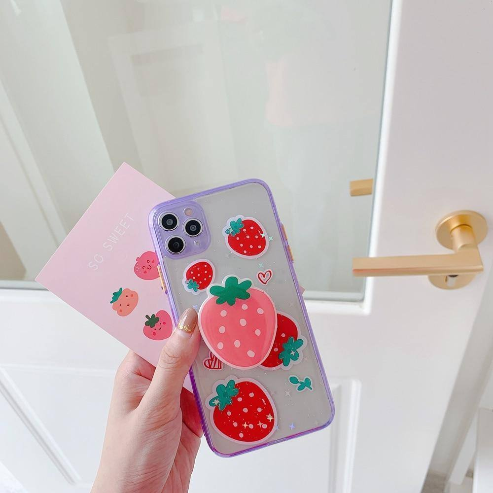 3D Strawberry Glitter Phone Case With Stand Holder/Socket For iPhone