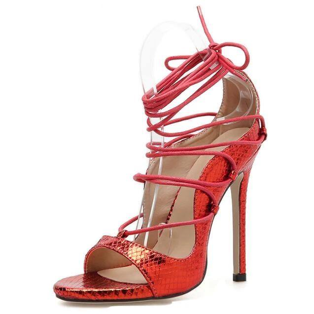Women's Lace-Up Strappy Sandals Thin Round Toe High Heel- Black, Red - Kalsord