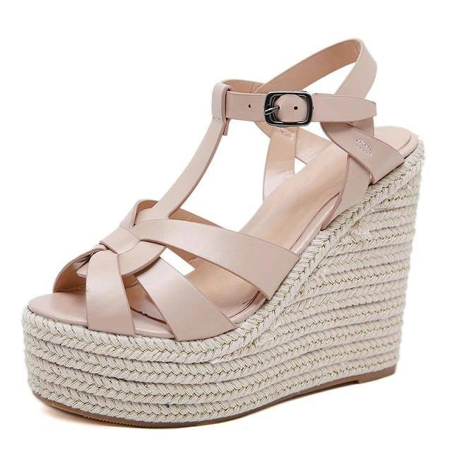 Casual Summer Women's Open Toe Super High Thick Wedge Sandals - Kalsord