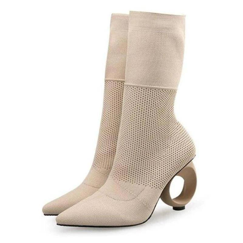 Trendy Design Stretch Sock Boots Ankle Pointy Knitted Boots | Heels- Black, Apricot - Kalsord